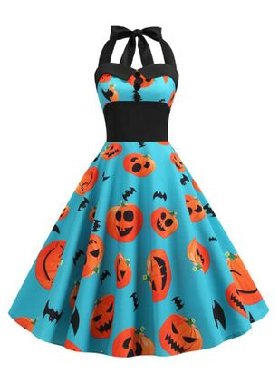 Halloween Color Block Skater Halter Neckline X-line Dress (109554413)