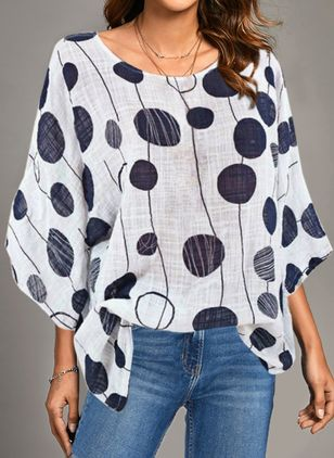 Floral Casual Round Neckline Long Sleeve Blouses (1493024)