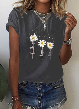 Floral Round Neck Short Sleeve Casual T-shirts (4348293)