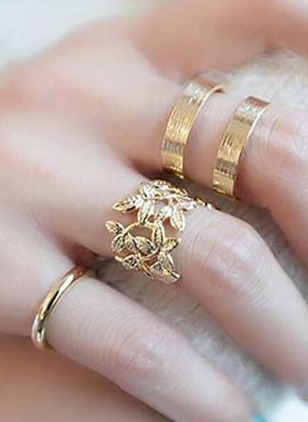 Floral No Stone Rings 3pcs
