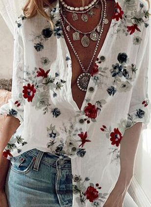 Floral Casual V-Neckline 3/4 Sleeves Blouses (146988176)