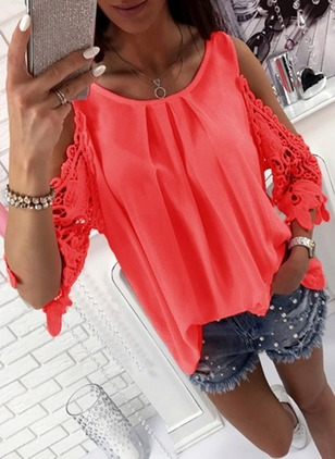 Chiffon Solid Round Neck 3/4 Sleeves Casual T-shirts