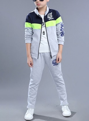 Boys' Casual Color Block Sports Long Sleeve Clothing Sets