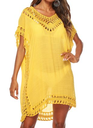 Polyester Solid Cover-Ups Swimwear (1521827)