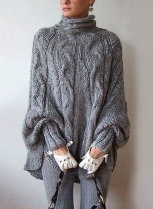 Wool Blends High Neckline Solid Loose Sweaters