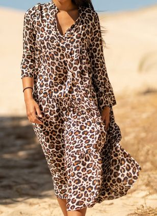 Casual Leopard Tunic V-Neckline A-line Dress (4134949)
