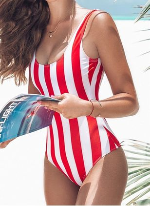 Polyester Stripe One-piece Swimwear (4038721)