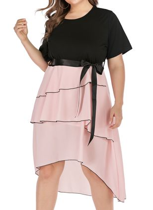 Plus Size Casual Color Block Sashes Round Neckline X-line Dress (1340780)