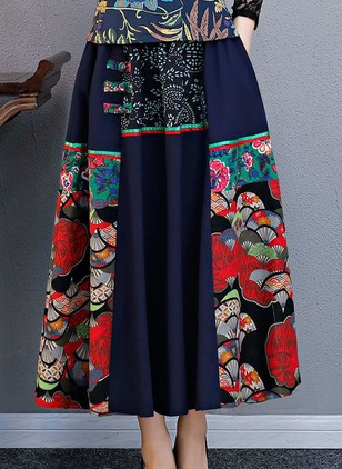 Cotton Blends Floral Mid-Calf Pattern Skirts