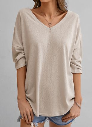 Solid V-Neckline Long Sleeve Casual T-shirts (100132577)