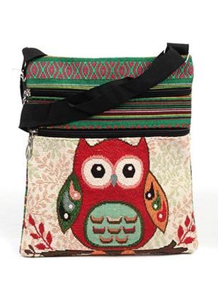 Shoulder Canvas Print Zipper Adjustable Bags