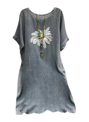 Casual Floral Tunic Round Neckline A-line Dress (4073797)
