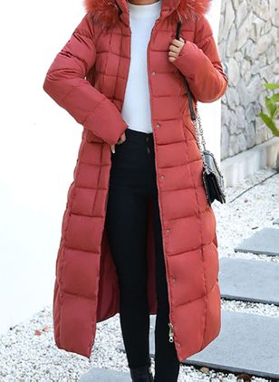Long Sleeve Collar Sashes Zipper Parkas Coats (109556186)