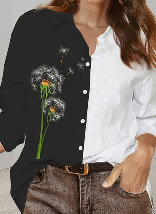 Floral Casual Collar Long Sleeve Blouses (147075993)