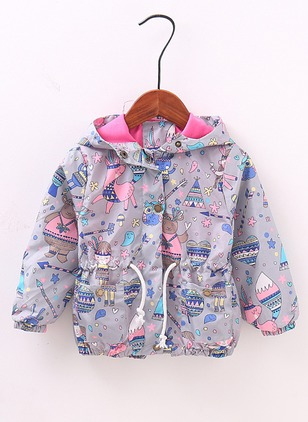 Girls' Cartoon Hooded Coats