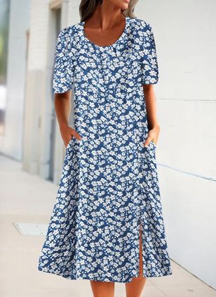 Casual Floral Shirt Round Neckline T-shirt Dress (4228639)