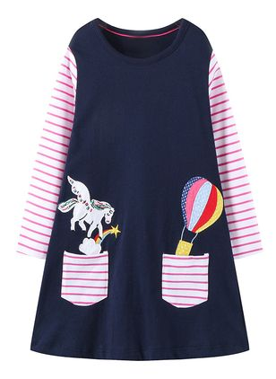 Girls' Casual Animal School Long Sleeve Dresses