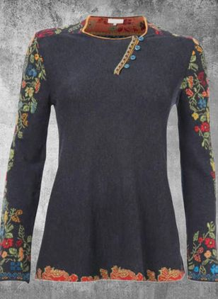 Floral Round Neck Long Sleeve Casual T-shirts (128230025)