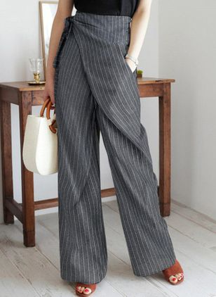 Casual Loose Pattern Pockets High Waist Polyester Pants (146632294)