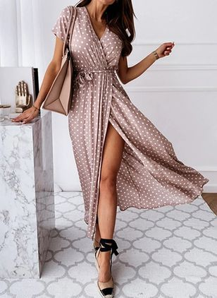 Casual Polka Dot Wrap V-Neckline X-line Dress (4041372)