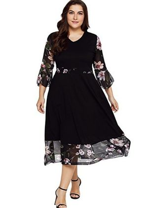 Plus Size Floral 3/4 Sleeves Midi X-line Dress