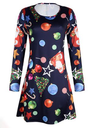 Halloween Color Block Skater Round Neckline X-line Dress (109555525)