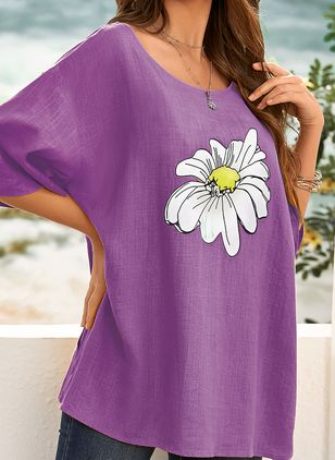 Plus Size Floral Casual Round Neckline Half Sleeve Blouses (4039106)