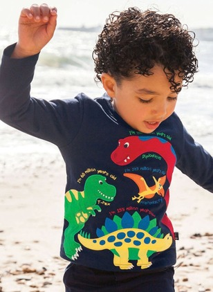 Boys' Animal Round Neckline Long Sleeve Tops