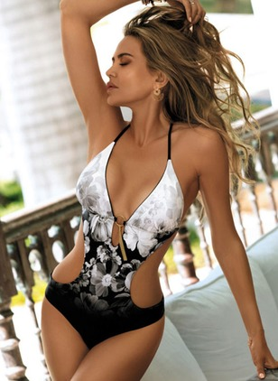 Polyester Halter Pattern Knotted Flowers One-piece Swimwear