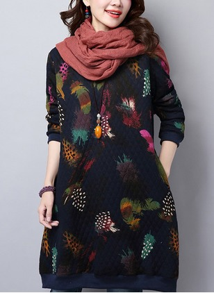 Cotton Floral Long Sleeve Shift Dress