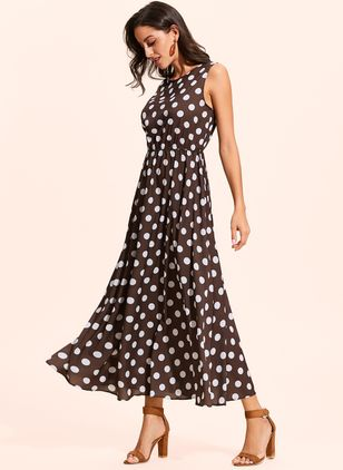 Casual Polka Dot Round Neckline Maxi X-line Dress (1314044)