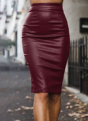 Solid Knee-Length Casual Skirts (104701968)