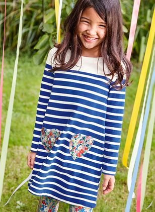 Girls' Basic Stripe Daily Long Sleeve Dresses