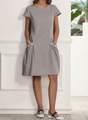 Casual Solid Round Neckline Above Knee Shift Dress (1302812)