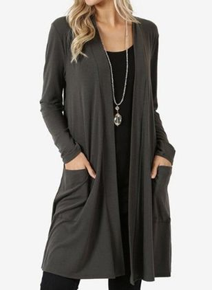 Long Sleeve V-neck Pockets Blanket Coats (5144461)