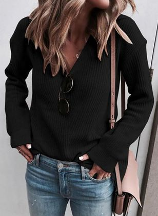V-Neckline Solid Casual Loose Regular Shift Sweaters (100772589)