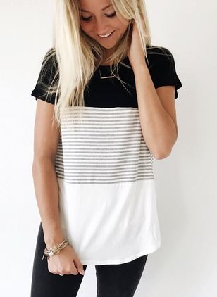 Cotton Stripe Round Neck Short Sleeve Casual T-shirts & Vests  ...