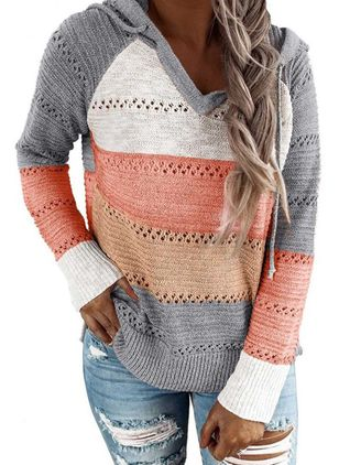 Hooded Color Block Casual Loose Regular Shift Sweaters (6211311)