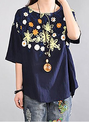 Floral Casual Cotton Linen Round Neckline Half Sleeve Blouses