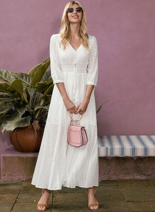 Solid Embroidery 3/4 Sleeves Maxi X-line Dress