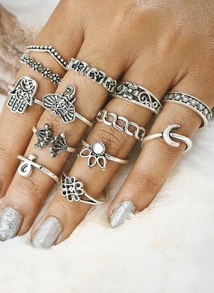 Animal No Stone Rings 13pcs
