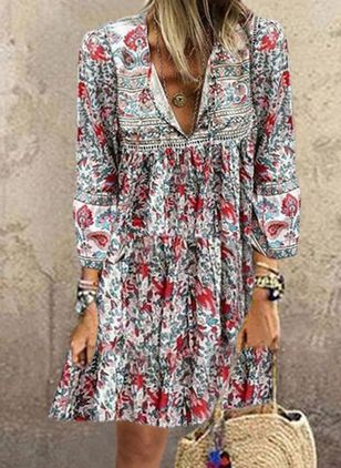 Casual Floral Tunic V-Neckline Shift Dress (4256478)