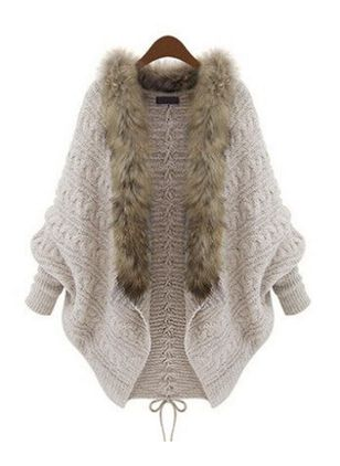 Long Sleeve V-neck Unremovable Fur Collar Sweaters Coats (127657216)