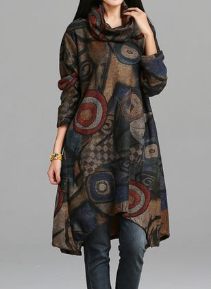 Casual Floral Pockets Tunic A-line Dress (1241899)