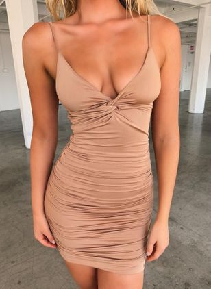 Sexy Solid Pencil Camisole Neckline Bodycon Dress (147204591)