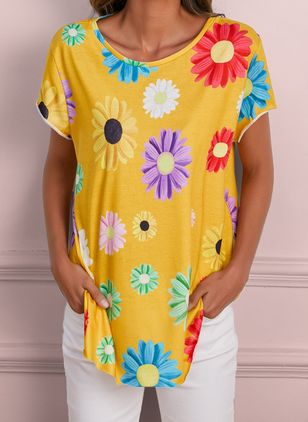 Floral Round Neck Short Sleeve Casual T-shirts (4037746)