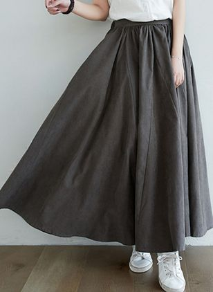 Solid Maxi Casual Skirts (2201344)