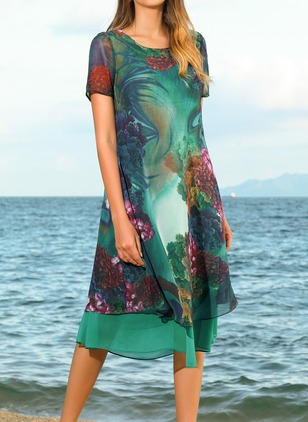Floral Short Sleeve Knee-Length A-line Dress