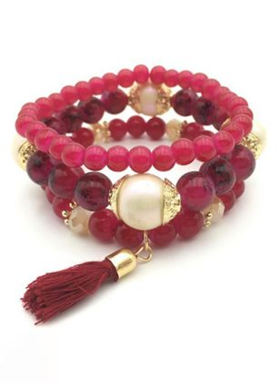 Casual Tassel Ball No Stone Beaded Bracelets (111608269)