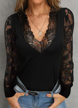 Solid Sexy V-Neckline Long Sleeve Blouses (108088923)